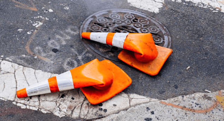 Smashed Traffic Cones